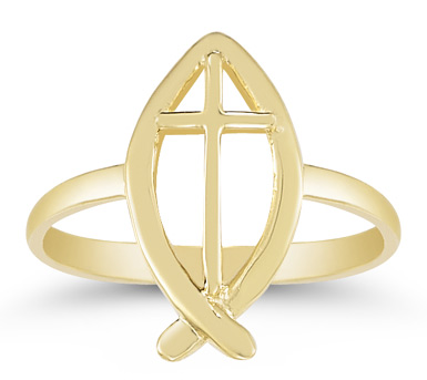 Christian Ichthus Ring in 14K Gold