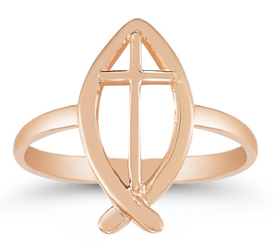 Christian Ichthus Ring in 14K Rose Gold