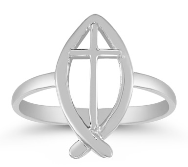 Christian Ichthus Ring in 14K White Gold