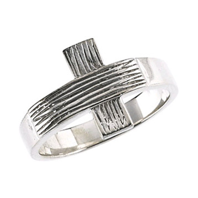 Men's Rustic Cross Ring in 14K White Gold