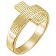 Men's Rustic Cross Ring in 14K Yellow Gold