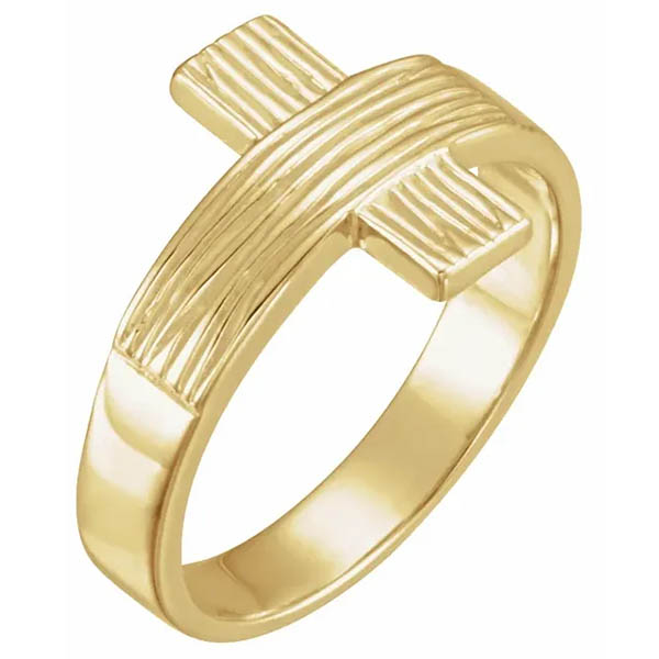 Men's Rustic Cross Ring in 14K Yellow Gold