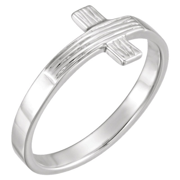 Women's Rustic Cross Ring in 14K White Gold