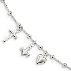 Cross, Anchor, & Heart Bracelet in Sterling Silver
