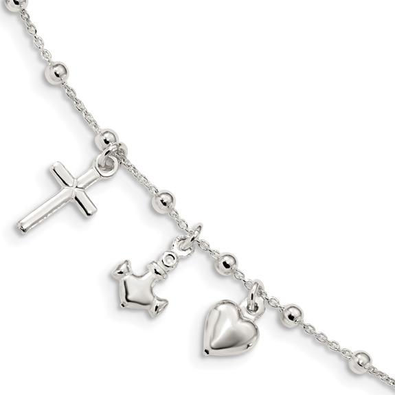 Cross, Anchor, & Heart Bracelet in Sterling Silver