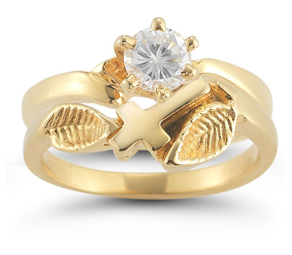 Christian Cross CZ Bridal Wedding Ring Set in 14K Yellow Gold