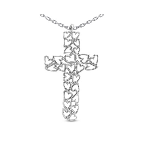 Cross of Hearts Pendant Necklace, 14K White Gold