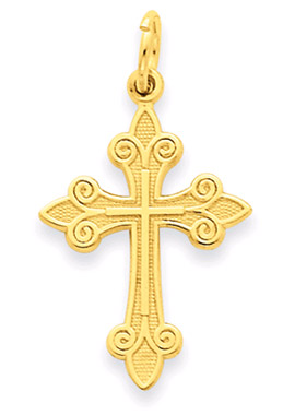 14K Yellow Gold Fleur-De-Lis Cross