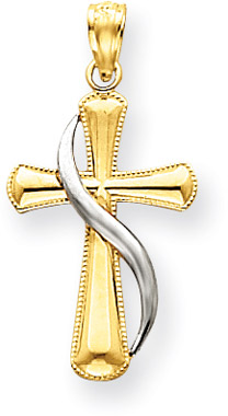 14K Two-Tone Gold Methodist Cross Pendant