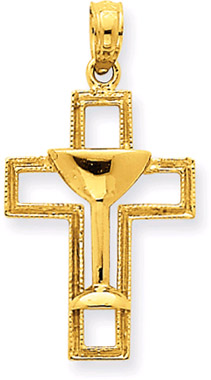 14K Yellow Gold Chalice Cross