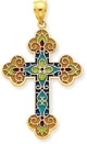 Stained Glass Cross in 14K Yellow Gold
