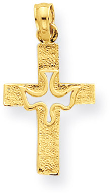 14K Yellow Gold Dove Cross