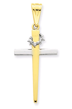 14K Two-Tone Gold Crown of Thorns Cross