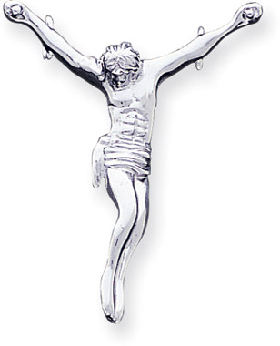 Crucifix jewelry reminders of the message of good friday 14k white gold crucifixion pendant aloadofball Image collections