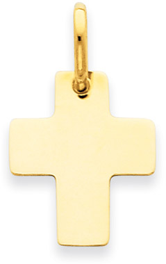 14K Yellow Gold Plain Cross Pendant