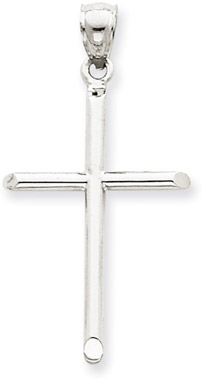 14K White Gold Modern Cross Pendant