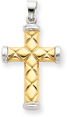 14K Two-Tone Gold Quilted Cross Pendant