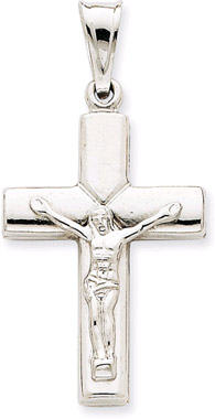 14K White Gold Crucifix Pendant