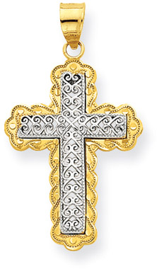 14K Two-Tone Gold Filigree Cross Pendant