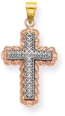 14K Rose and White Gold Filigree Cross Pendant