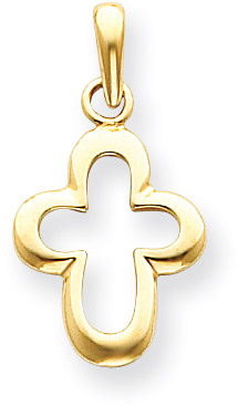 14K Yellow Gold Cut-out Cross Pendant