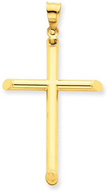 14K Yellow Gold Modern Cross Pendant