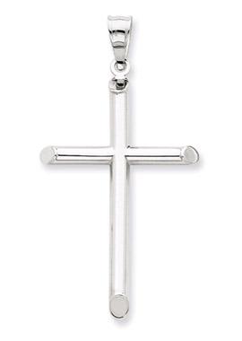 14K White Gold Modern Cross Pendant