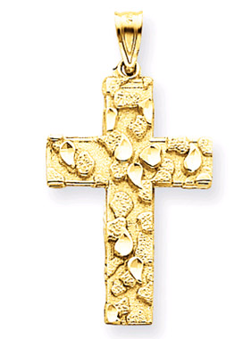 14K Yellow Gold Nugget Cross