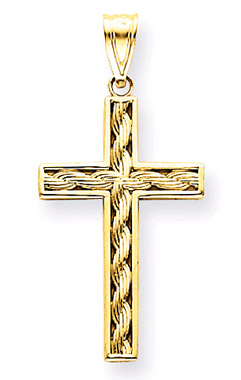 14K Yellow Gold Rope Cross Pendant