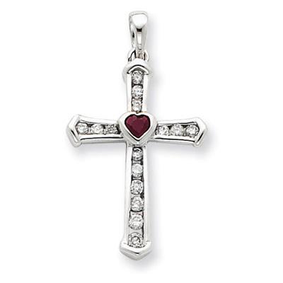 heart ruby diamond cross necklace