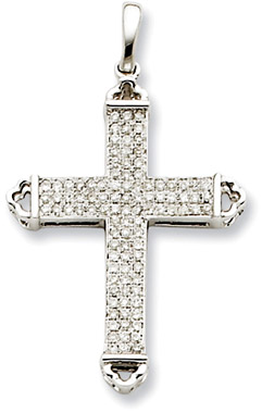 0.31 Carat 14K White Gold Diamond Cross Pendant