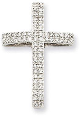 0.25 Carat 14K White Gold Large Diamond Cross Pendant