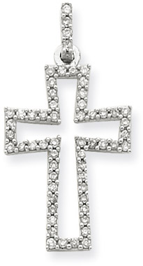 0.25 Carat Diamond Cross Pendant in 14K White Gold