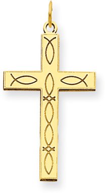 Icthus Cross Pendant in 14K Yellow Gold