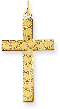 Laser Engraved Heart Cross Pendant in 14K Yellow Gold