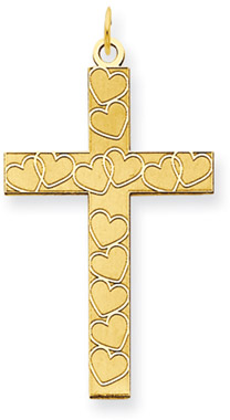 Large Laser Engraved Heart Cross Pendant in 14K Yellow Gold