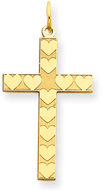 14K Gold Laser Engraved Heart Cross Pendant
