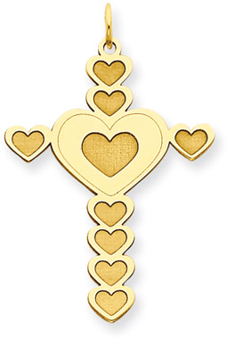 14K Gold Heart Cross Pendant