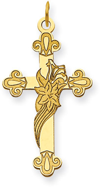 14K Yellow Gold Lily of the Valley Cross