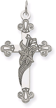 14K White Gold Lily of The Valley Cross