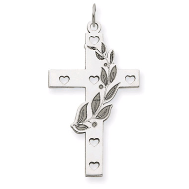 14K White Gold Olive Branch Cross