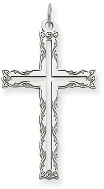 Floral Cross Pendant 14K White Gold