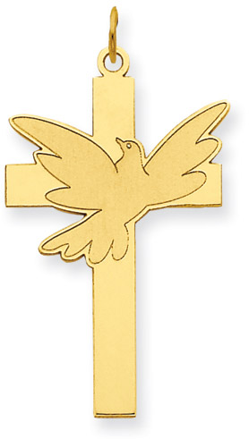 Dove of Peace Cross Pendant in 14K Yellow Gold
