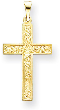 Small 14K Yellow Gold Floral Cross Pendant