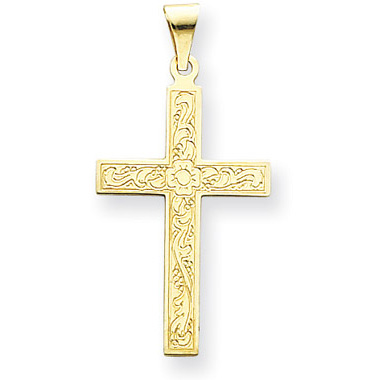 Medium 14K Yellow Gold Floral Cross Pendant