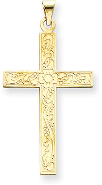 Large 14K Yellow Gold Floral Cross Pendant