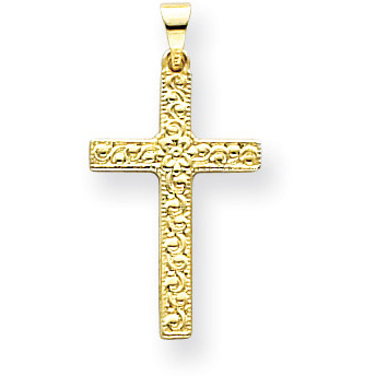 14K Yellow Gold Floral Cross Pendant