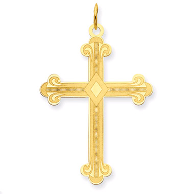 Fleur-De-Lis Cross in 14K Yellow Gold