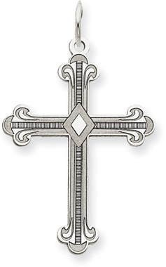 Fleur-De-Lis Cross Pendant in 14K White Gold