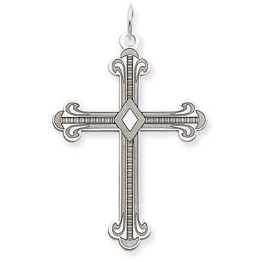 Fleur-De-Lis Cross in 14K White Gold